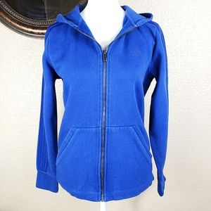 Adidas royal blue zip up hoodie with stripes
